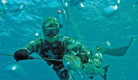 Подводный охотник с добычей