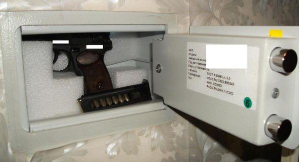 Небольшой сейф для пистолета
